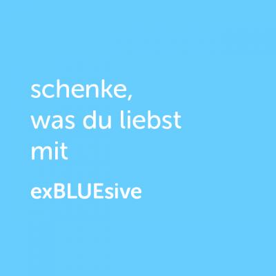 Partner-Wertgutschein: schenke, was du liebst mit exBLUEsive - Platzhalter blau