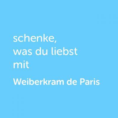 Partner-Wertgutschein: schenke, was du liebst mit Weiberkram de Paris - Platzhalter blau