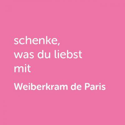 Partner-Klamotten-Wertgutschein: schenke, was du liebst mit Weiberkram de Paris - Platzhalter rot