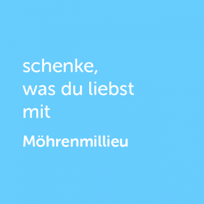Partner-Wertgutschein: schenke, was du liebst mit Möhren Millieu - Platzhalter blau