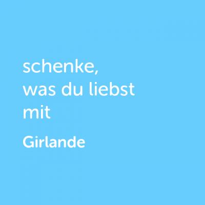 Partner-Wertgutschein: schenke, was du liebst mit Girlande - Platzhalter blau
