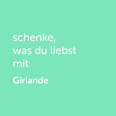 Partner-Wertgutschein: schenke, was du liebst mit Girlande - Platzhalter grün