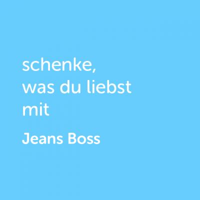 Partner-Wertgutschein: schenke, was du liebst mit Jeans Boss - Platzhalter blau
