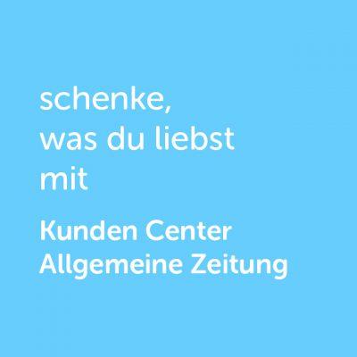 Partner-Wertgutschein: schenke, was du liebst mit Kunden Center Allgemeine Zeitung - Platzhalter blau