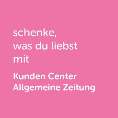 Partner-Wertgutschein: schenke, was du liebst mit Kunden Center Allgemeine Zeitung - Platzhalter rot