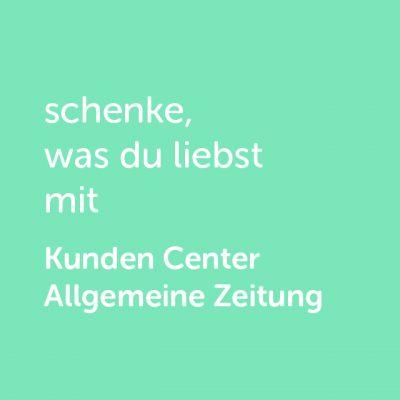 Partner-Wertgutschein: schenke, was du liebst mit Kunden Center Allgemeine Zeitung - Platzhalter grün