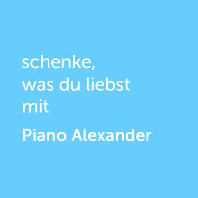 Partner-Wertgutschein: schenke, was du liebst mit Piano Alexander - Platzhalter blau