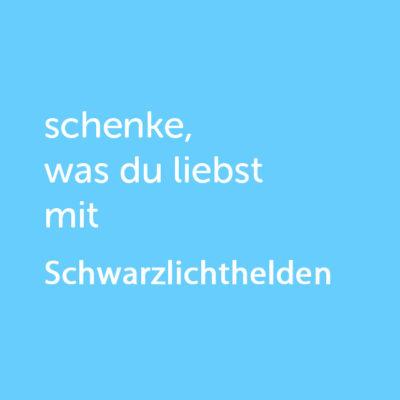 Partner-Wertgutschein: schenke, was du liebst mit Schwarzlichthelden - Platzhalter blau