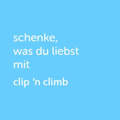 Partner-Wertgutschein: schenke, was du liebst mit Clip 'n Climb - Platzhalter blau